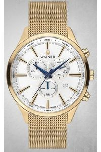 Men's Stainless Steel Band Watch -WA19060, gold, gold, white