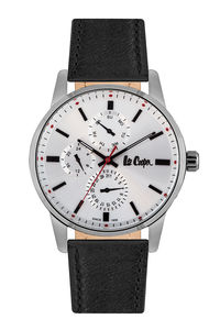 Men's Leather Band Watch -LC06675, black, silver, black