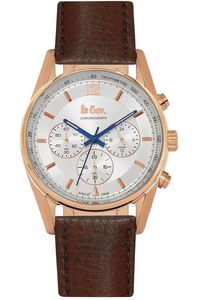 Men's Leather Band Watch -LC06415, brown, rose gold, silver