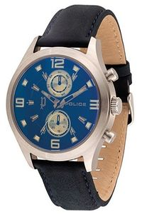 Men's Leather Band Watch - P 14207, blue, silver, black