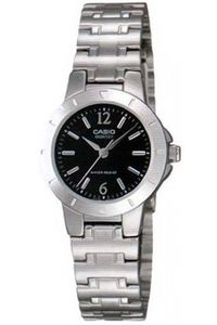 Women's Stainless Steel Band Watch - LTP-1177, black, silver, silver