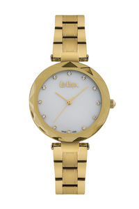 Women's Super Metal Band Watch -LC06608, two tone gold, gold, mop white