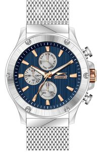 Men's Stainless Steel Band Watch - SL. 9.6006, blue, black, silver