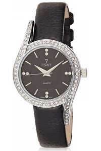 Ecstacy Women's Leather Band Watch E8504-SLBB, black, silver, black