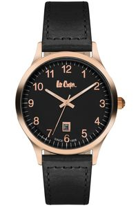 Men's Leather Band Watch - LC06296, black, black, rose gold