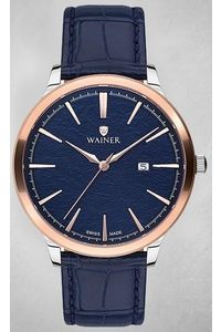 Men's Genuine Leather Band Watch -WA11022, blue, silver, blue
