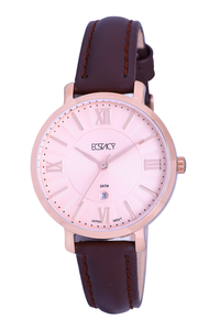 Ecstacy Women's Leather Band Watch E7507-RLDK, coffee brown, rose gold, rose gold