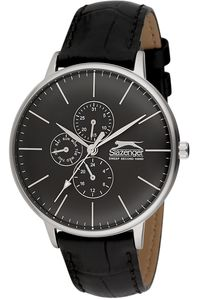 Men's Leather Band Watch - SL. 9.6052, black, silver, black