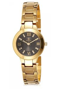 Stylo Women's Stainless Steel Band Watch - S7544-GBGB, black, ip gold, ip gold