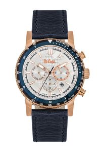 Men's Leather Band Watch - LC06166, blue, gold, silver