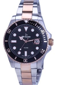 Men's Solid Stainless Steel Band Watch- T7005, black, silver, tt rose gold