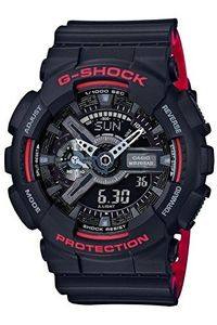 Men's Resin Band Watch -GA-110HR, black, black, black/red