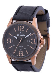 Men's Genuine Leather Band Watch- T5027, black, grey, rose gold