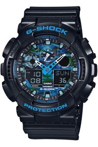 Men's Resin Band Watch -GA-100CB, camouflage/blue, black, black