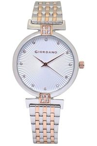 Women's Stainless Steel Band Watch - 2869, white, silver, two tone rose gold