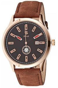 Stylo Men's Leather Band Watch - S7032-RLDB, black, rose gold, brown