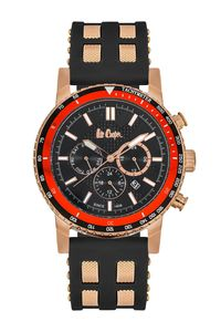 Men's Resin Band Watch - LC06167, black, gold, black