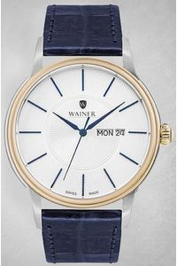 Men's Genuine Leather Band Watch -WA14922, blue, silver, white