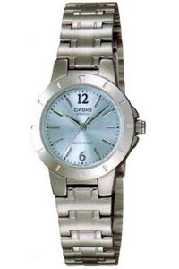 Women's Stainless Steel Band Watch - LTP-1177, light blue, silver, silver