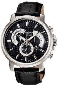 Men's Leather Band Watch - BEM-506, silver, black, black