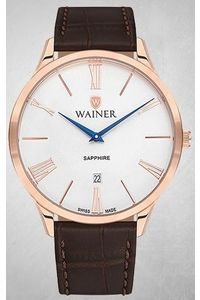 Men's Genuine Leather Band Watch -WA11430, brown, rose gold, white