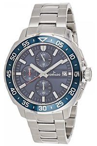 Men's Solid Stainless Steel Band Watch- T8104, blue, silver, silver