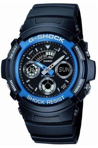 Men's Resin Band Watch -AW-591, black, black/blue, black