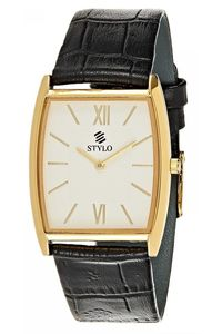 Stylo Men's Leather Band Watch - S7041-GLBS, silver, ip gold, black