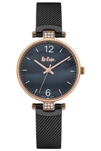 Women's Super Metal Band Watch -LC06587, mop black, rose gold, black