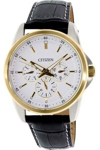 Men's Leather Band Watch - AG8344, white, silver, black