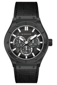 Giordano Men's Watch Multi Function Display- 1776-01, black, black