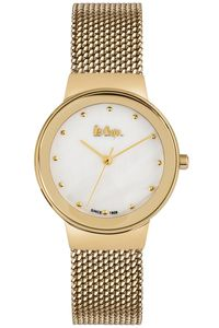 Women's Super Metal Band Watch -LC06472, mop white, gold, gold