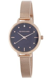 Women's Stainless Steel Band Watch - 2872, rose gold, blue, rose gold