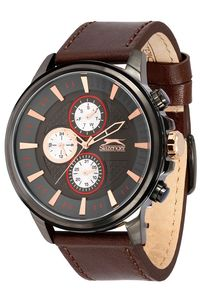 Men's Leather Band Watch - SL. 9.6074, grey, black, brown