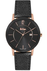 Men's Leather Band Watch - LC06326, black, tt rose gold, black