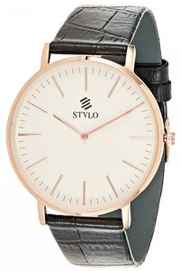 Stylo Men's Leather Band Watch - S7042-BLBS, black, silver, rose gold