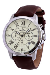 Men's Genuine Leather Band Watch- T6103, brown, ivory, silver