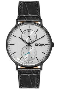 Men's Leather Band Watch - LC06381, silver, black, black