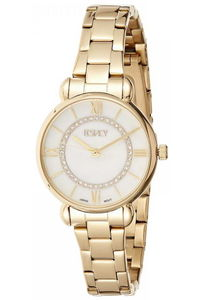 Ecstacy Women's Stainless Steel Band Watch E8505-GBGS, gold, gold, silver