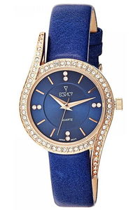 Ecstacy Women's Leather Band Watch E8504-RLLL, blue, rose gold, blue