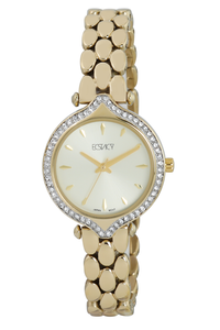Ecstacy Women's Stainless Steel Band Watch E7517-GBGC, gold, gold, champagne