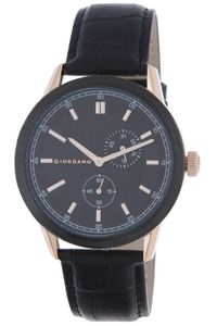 Men's Leather Band Watch - 1877, black, black, gold
