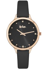 Women's Leather Band Watch - LC06461, black, rose gold, black