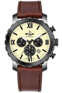 Men's Genuine Leather Band Watch- T7103, brown, ivory, silver