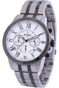 Men's Solid Stainless Steel Band Watch- T6103, tt black, white, silver