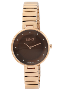 Ecstacy Women's Stainless Steel Band Watch E7519-RBKD, brown, rose gold, rose gold
