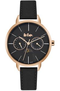 Men's Leather Band Watch - LC06536, black, rose gold, black