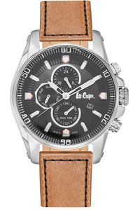 Men's Leather Band Watch -LC06446, brown, silver, black