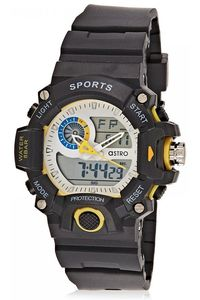 Astro Kids Black Plastic Watch - A8903-PPBSY, white/yello, black, black