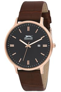 Men's Leather Band Watch - SL. 9.6088, black, rose gold, brown
